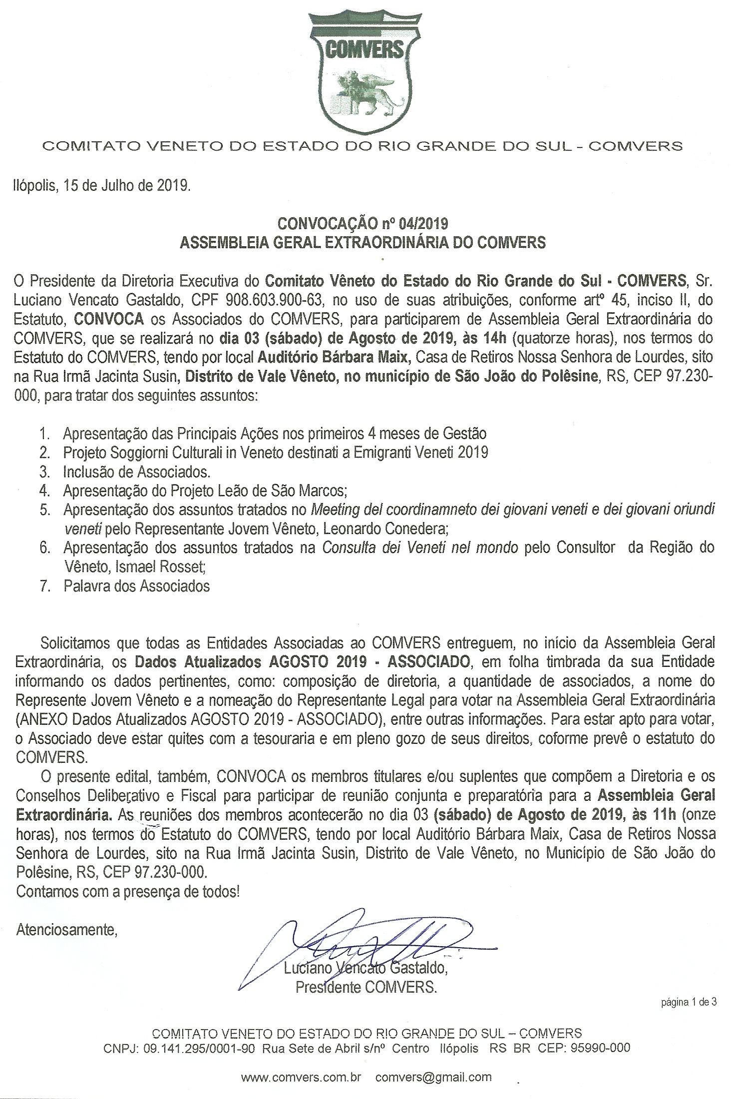 EDITAL CONVOCAÇÃO AGE 04 - DIA 03/08/2019